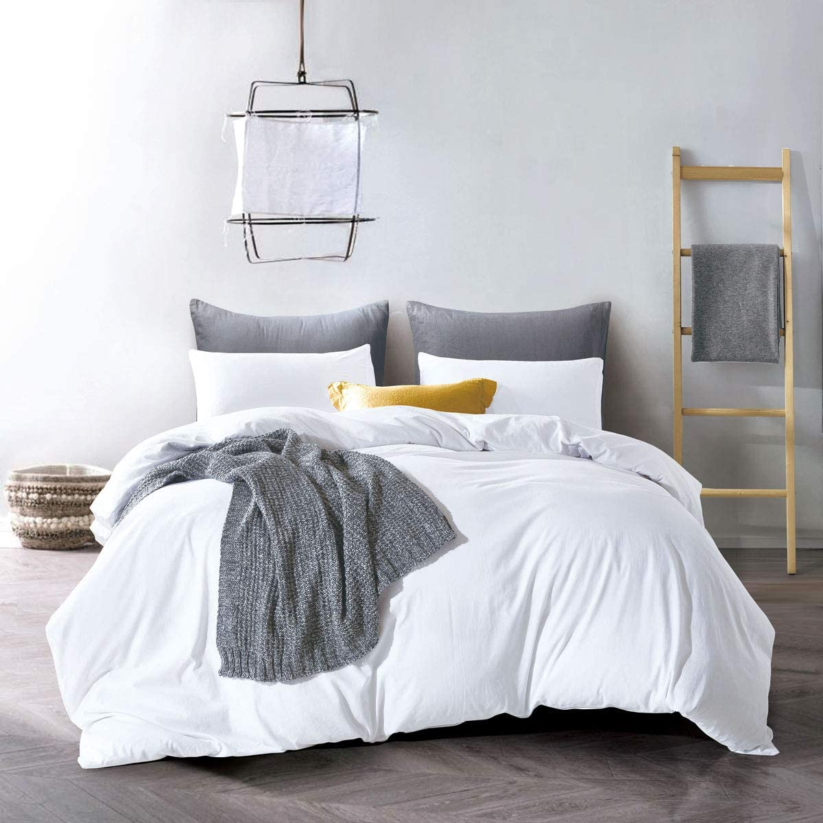 ATsense Duvet Cover, Bedding Duvet Cover Set, 100% Washed Cotton, 3-Piece, Ultra Soft and Easy Care, Simple Style Bedding Set (California King, White 7006-4)