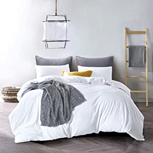 ATsense Duvet Cover Queen, 100% Washed Cotton, Bedding Duvet Cover Set, 3-Piece, Ultra Soft and Easy Care, Simple Style Farmhouse Bedding Set (White 7006-4)