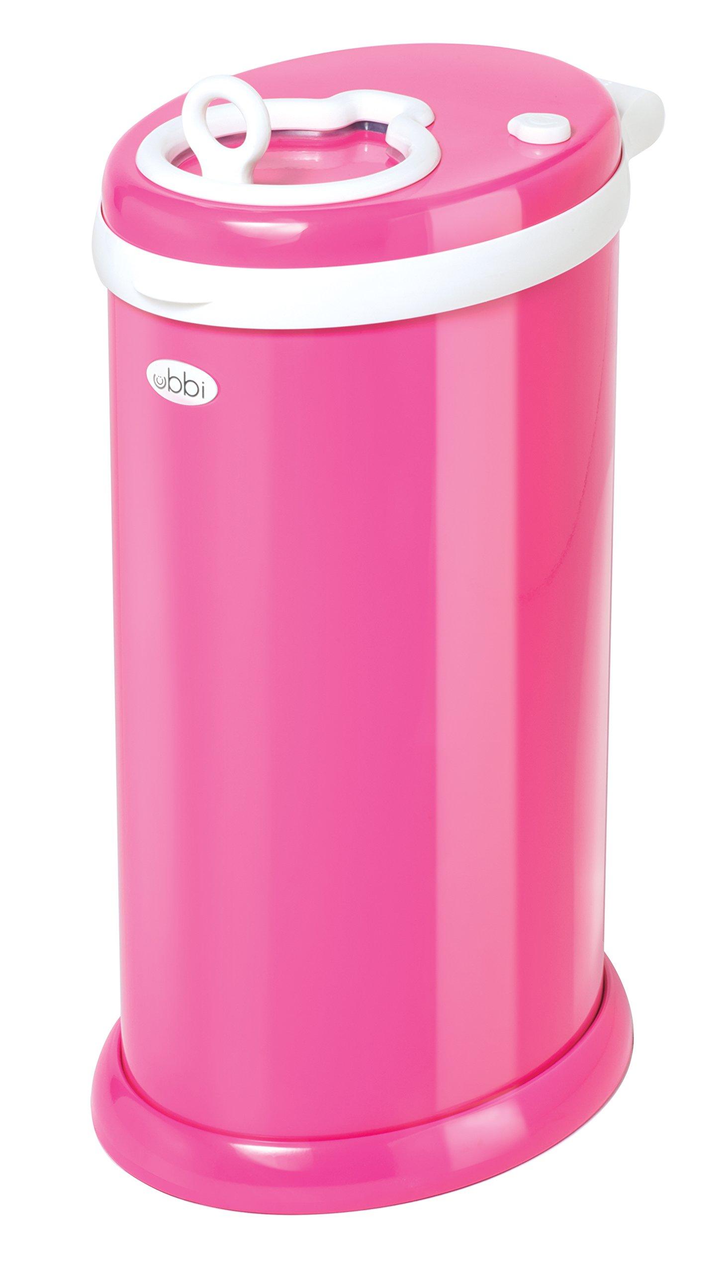 Ubbi Money Saving, No Special Bag Required, Steel Odor Locking Diaper Pail, Hot Pink