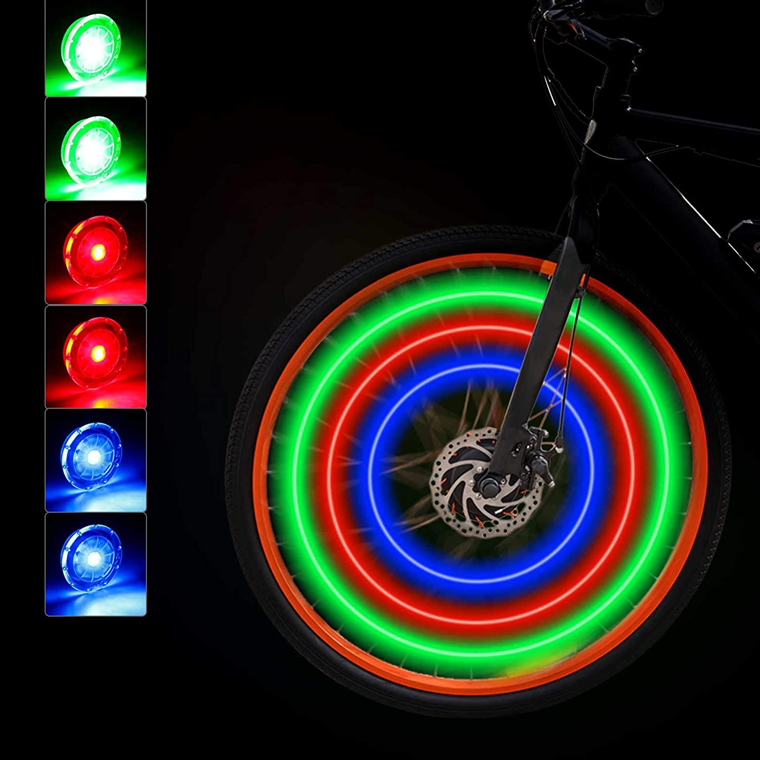 Spoke LED Light White or Red 3 Modes inc Battery Cycle Wheel