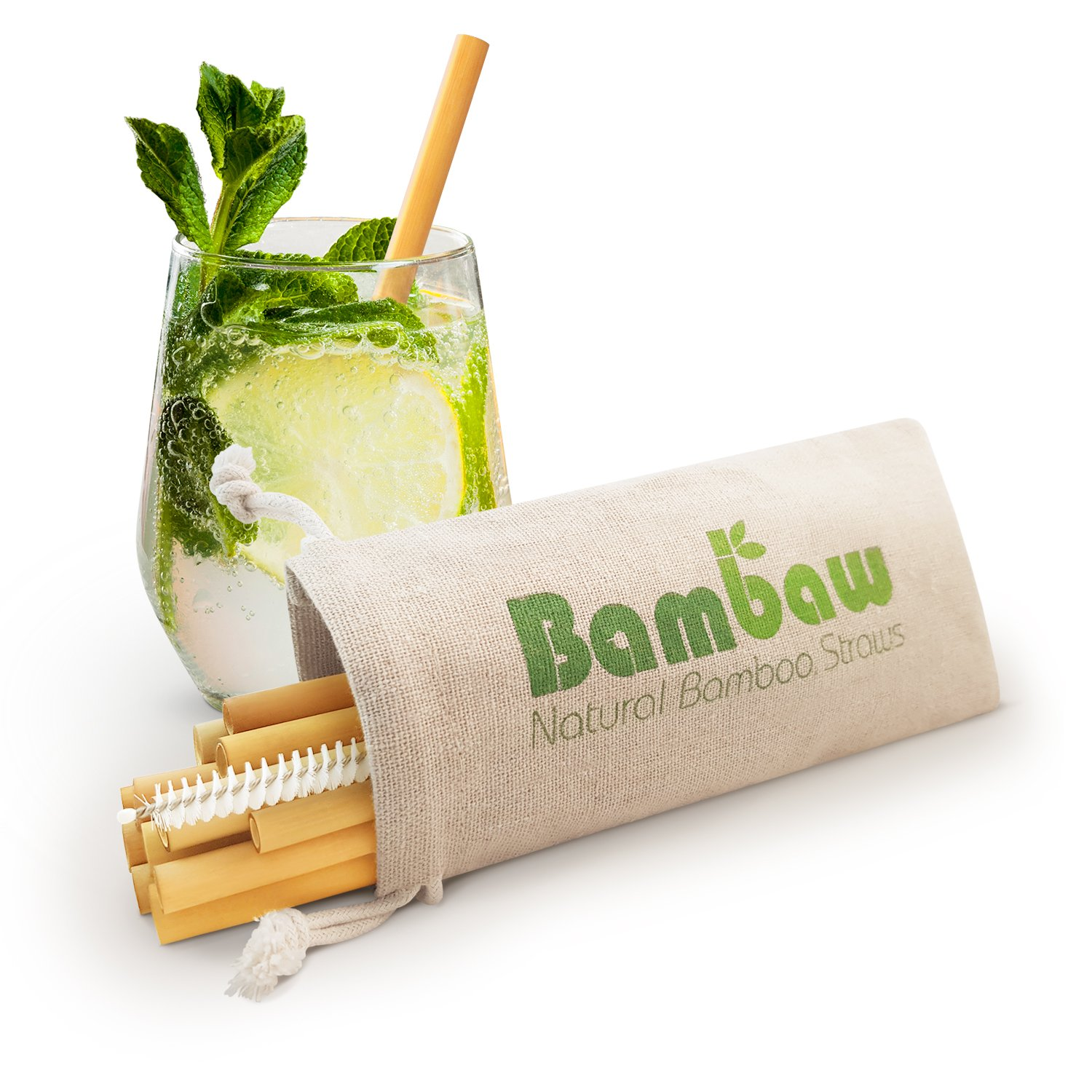 Reusable Bamboo Drinking Straws | BPA Free | Ecological Alternative to Plastic Straws | Strong & Durable Bamboo Multi-Usage Straw | 12 Straws | 5.1 inch | Bambaw