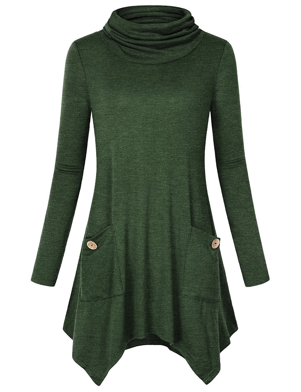 Anna Smith Ladies Tops to Wear with Leggings, Women Long Sleeve Tunic Cowl Neck Knitwear Form Fitting Tees Swing Cute Simple Sweater Business Casual Flared Hem Blouses with Pockets Green XX-Large