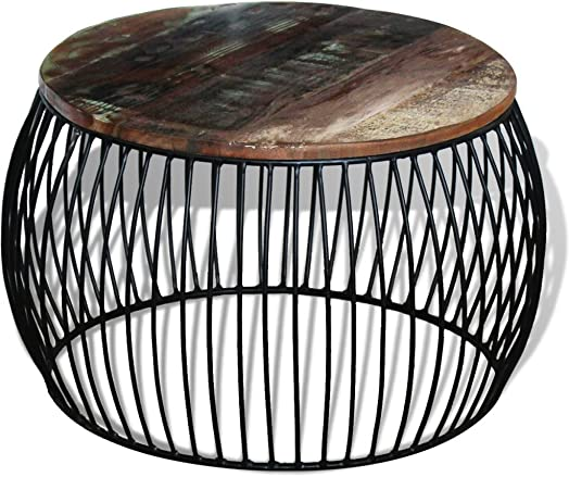 Cheap Festnight Round Reclaimed Wood Coffee Table living room table for sale