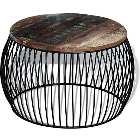 Festnight Round Reclaimed Wood Coffee Table, ...