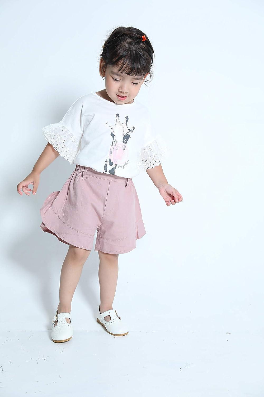 Aimama Toddler Baby Girls T-Shirts Short Sleeve Ruffle Giraffe Print White Tee for 12M-6T Infant Tops