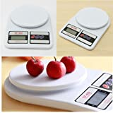 MAXELNOVA Electronic Digital Plastic Kitchen Weighing Scale 10kg Weight Measure for Spices Vegetable Liquids- Ivory