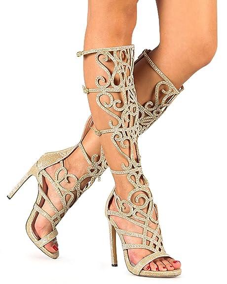 0bbf1f95cfe793 Celeste Chelsea-01 Glitter Knee High Open Toe Rhinestone Gladiator Stiletto  Sandal - Gold (