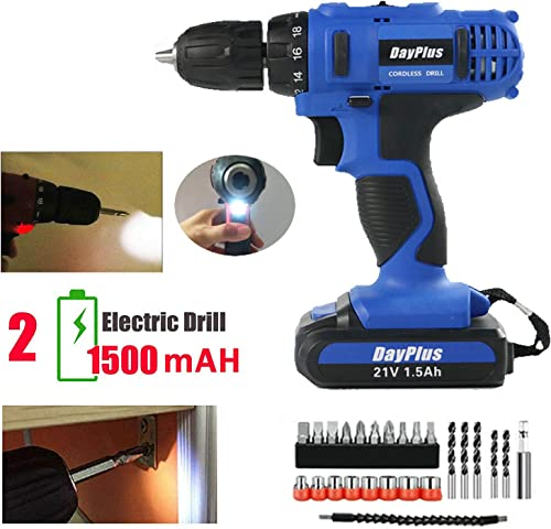 21V Electric Drill Cordless Set 18 1 Torque Impact Screwdriver with 1500mAh Rechargeable Lithium-ion Battery Adjustable Speed Easy Control LED Work Light with 29pcs Accessories – 2 Batteries Kit