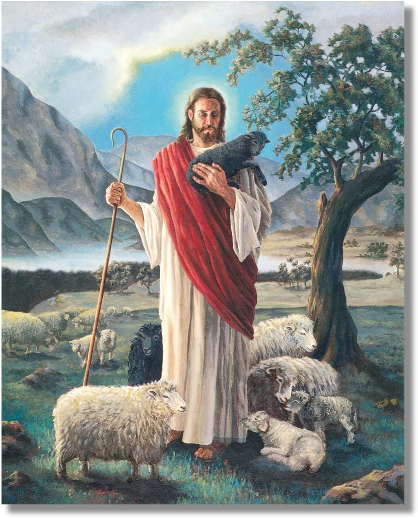 Amazon.com: Jesus Christ Shepherd with Lambs Religious Wall Picture 8x10  Art Print: Posters & Prints