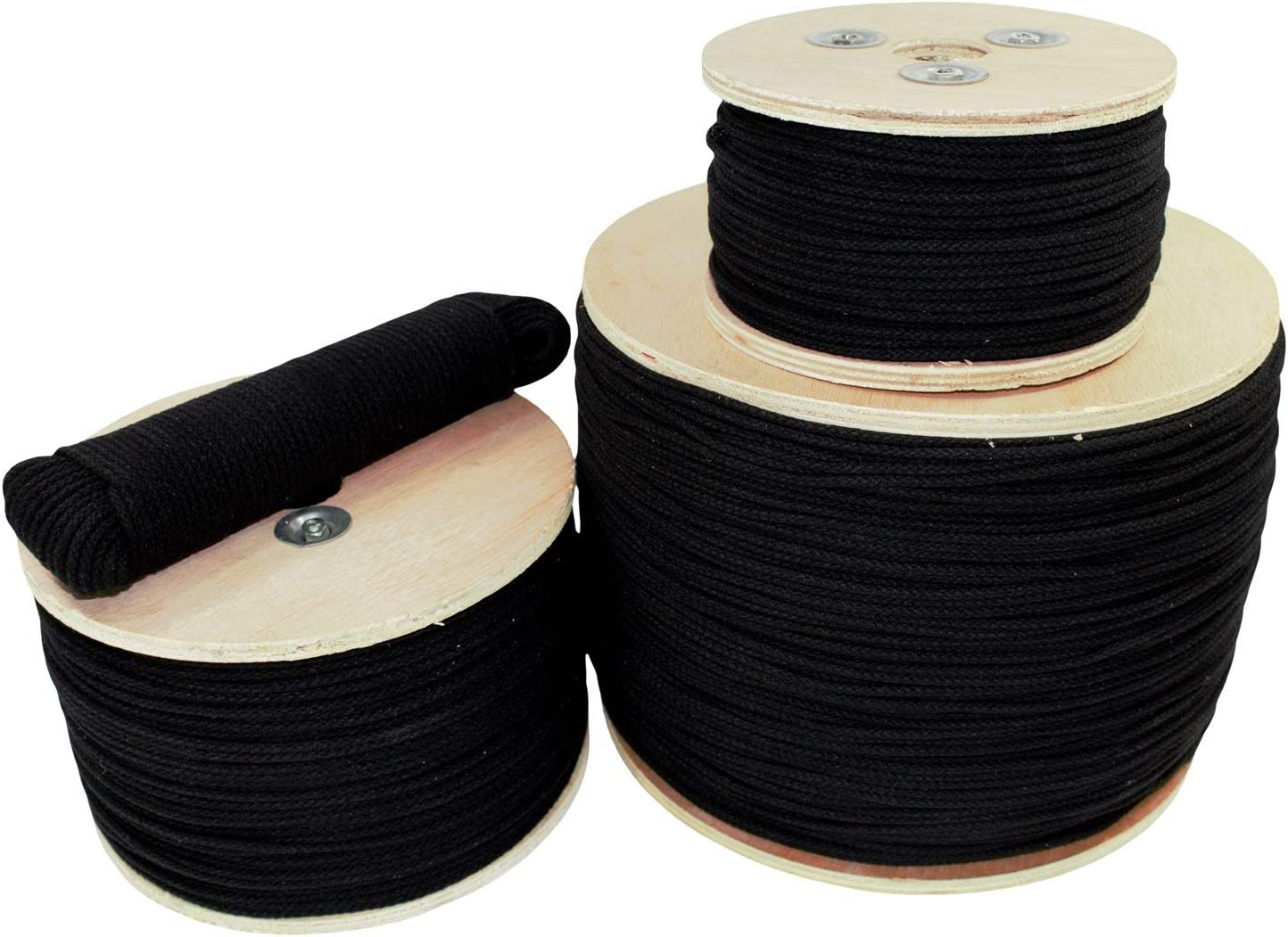 Golberg Trick Line Unglazed Cable Management Cotton Tie Line Decor Commercial Uses Theatrical Projects 1//8-Inch 250 Feet - Black Multipurpose Utility Line Polyester Core
