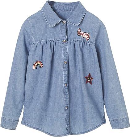VERTBAUDET Camisa Vaquera con Parches para niña Azul Oscuro Lavado 5A: Amazon.es: Ropa y accesorios