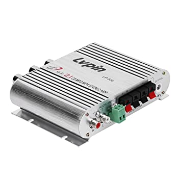 Amplificador de alta fidelidad para coche de 2 canales, 20W Filtro de paso alto y