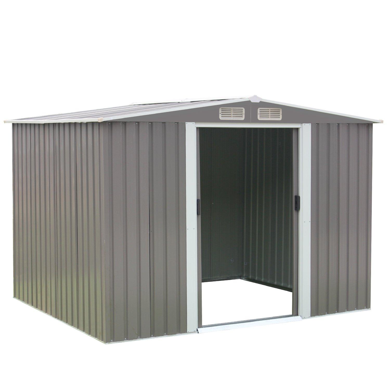 Peach Tree 8' x 6' Outdoor Backyard Metal Garden Utility Storage Shed Heavy Duty Tool House W/ Sliding Door, Gray