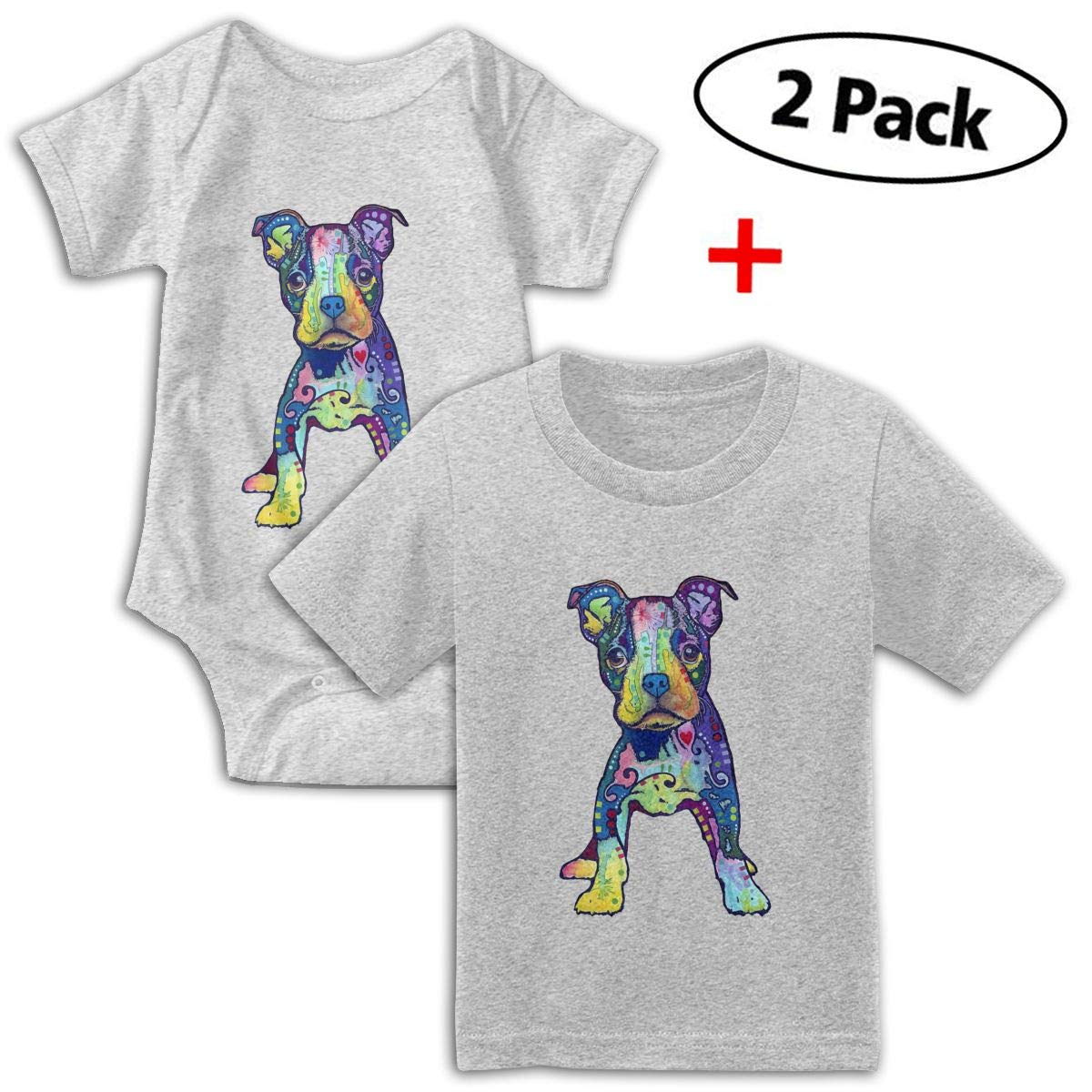 KAYERDELLE Puppy Graffiti Pop Babys Boys /& Girls Short Sleeve Jumpsuit Outfits and T-Shirt