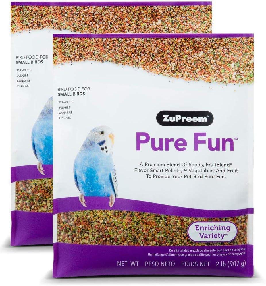 ZuPreem Pure Fun Bird Food for Small Birds, 2x2lb