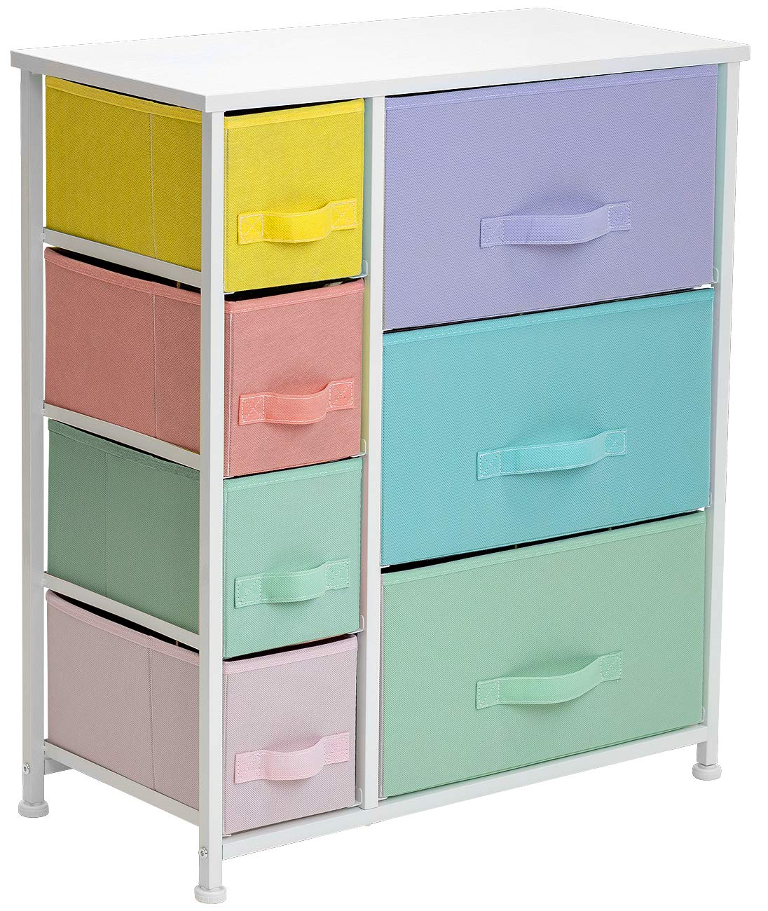 Fabric Bins Bedroom Steel Frame Sorbus Dresser with 7 Drawers Clothes Nursery Toys Furniture Storage Chest for Kid/'s Teens Wood Top Playroom Pastel//White, 7-Drawer