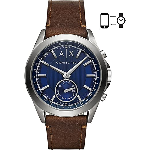 Armani Exchange Mens Hybrid Smartwatch, Stainless Steel, Brown Leather Strap, 44 mm, AXT1010