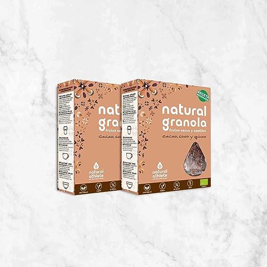 Granola *Nueva Receta* -Natural Athlete- Desayuno con frutos secos y semillas - 100% natural y orgánica, sin azúcar refinado. Pack 4x325gr (Cacao, coco y ...