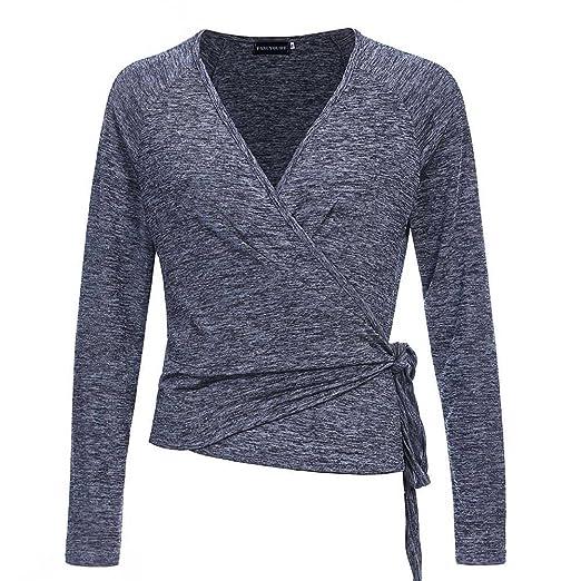 Fancyqube Womens Raglan Long Sleeve Shirt Knit Top Deep V Neck