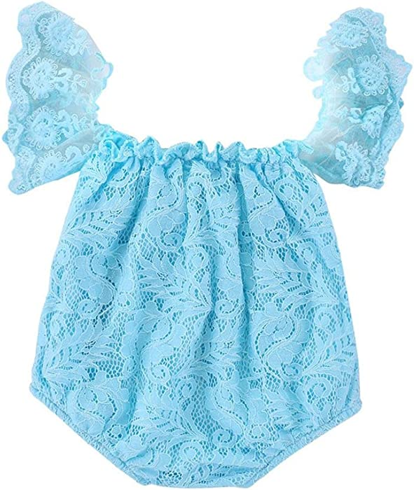6d0690c78164 Amazon.com  Hatoys Infant Toddler Baby Girl Lace Off Shoulder Romper ...