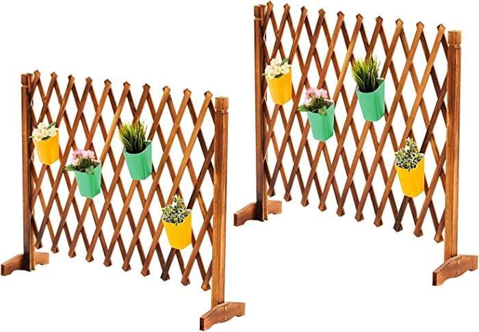 2 Pack Expanding Freestanding Wooden Trellis Fence Garden Screen with Mobile and Fold-able Design for Gardeners and Pet Owners