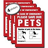 Pet Inside Finder Sticker - 4 Pack - Adhesive on FRONT and BACK. In a Fire Emergency, Firefighters will see alert on the wind