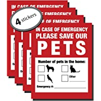 Maye Market Pet Inside Finder Sticker - 4 Pack - Adhesive on Front Back. in a Fire Emergency, Firefighters Will See Alert on The Window, Door House Rescue Your cat/Dog. Safety First in case fire.