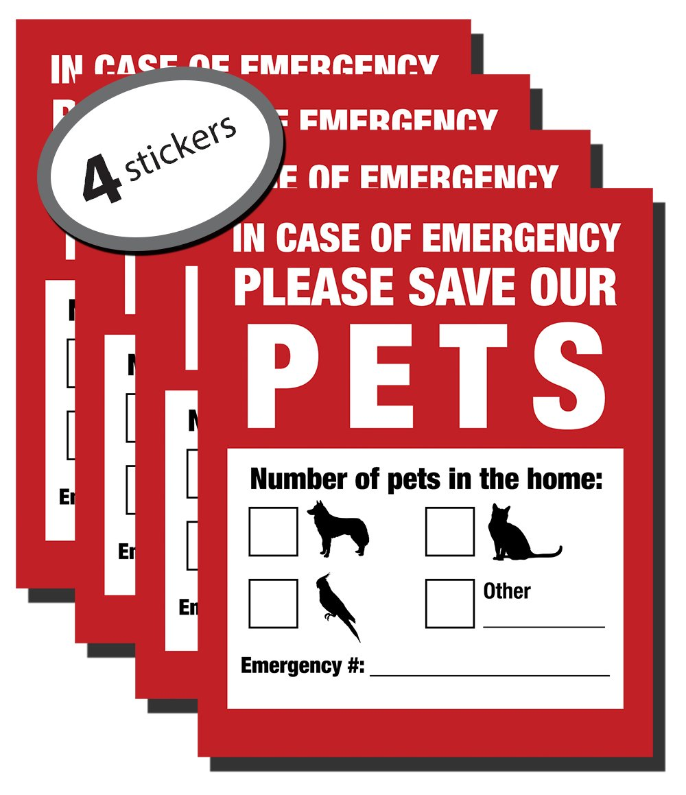 Pet Inside Finder Sticker - 4 Pack - Adhesive on FRONT and BACK. In a Fire Emergency, Firefighters will see alert on the window, door, or house and rescue your cat / dog. Safety first in case of fire.