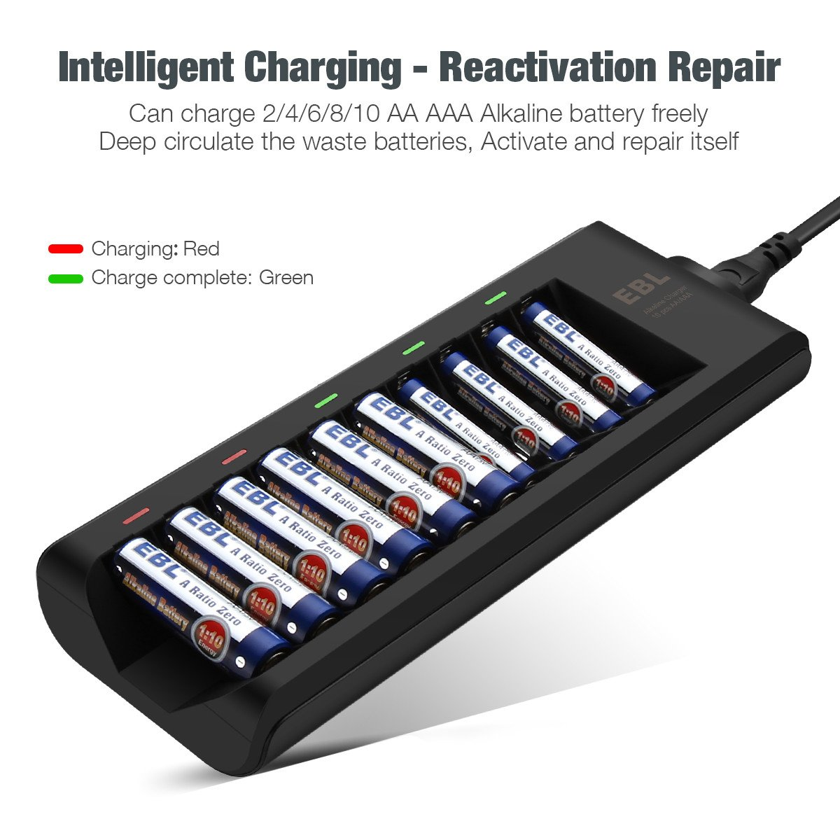 Ebl 10 Bay Alkaline Battery Charger For Disposable Aa How To Make A Nimh Nicd Circuit Homemade Aaa Not Included Home Audio Theater