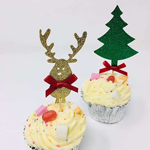 Cute Reindeer Cupcake And Christmas Tree Topper With The Bow 12