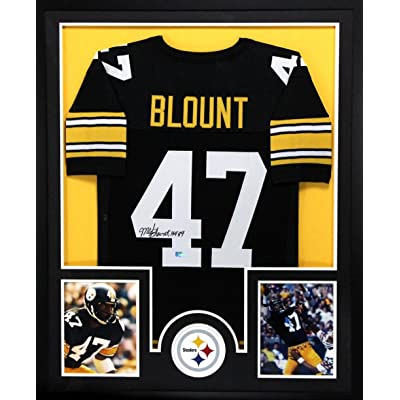 Mel Blount Signed Pittsburgh Steelers Framed Black Custom Jersey With HOF  89
