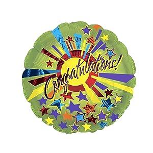 Congrats Star Burst Balloon (18 Inch Mylar) Pkg/10