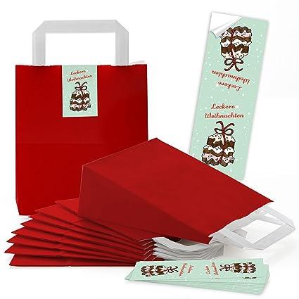 5 rojos pequeñas bolsas de papel Papel bolsillos con suelo y ...