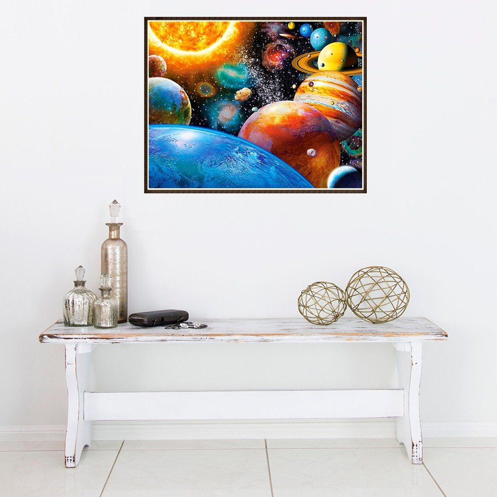 Retro Unicorn,Frame Excluded DIY 5D Full Diamond Painting by Number Kits Crystal Rhinestone Diamond Embroidery Paintings Pictures Arts Craft for Home Wall Decor