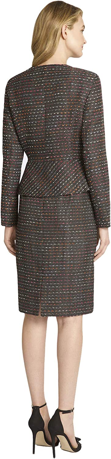 Tahari ASL Womens Faux Double Breasted Peplum Jacket and Skirt Set