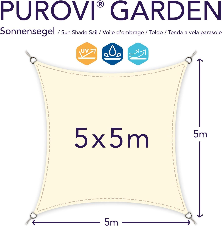 in PES Impermeabile 5 x 5 m Varie Dimensioni Schermo UV Purovi Vela Parasole Quadrata