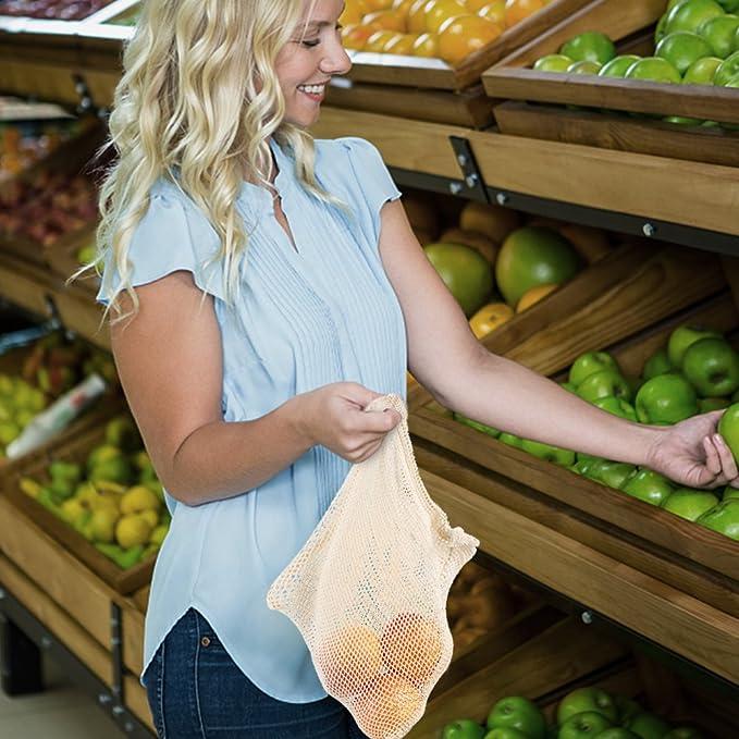 Reutilizables de Frutas y Verduras Bolsas de Algodón Producir Bolsas de la Compra con Bolsa de Pan Plástico Libre Bolsas de Malla Redes de Compras con Mango ...