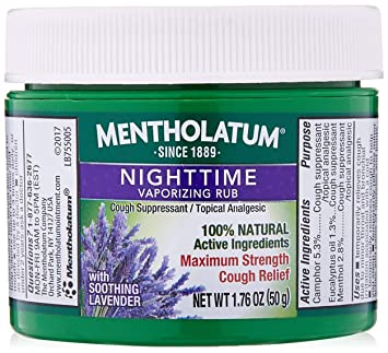 Mentholatum Nighttime Vaporizing Rub Maximum Strength Cough Relief with  Naturally Soothing