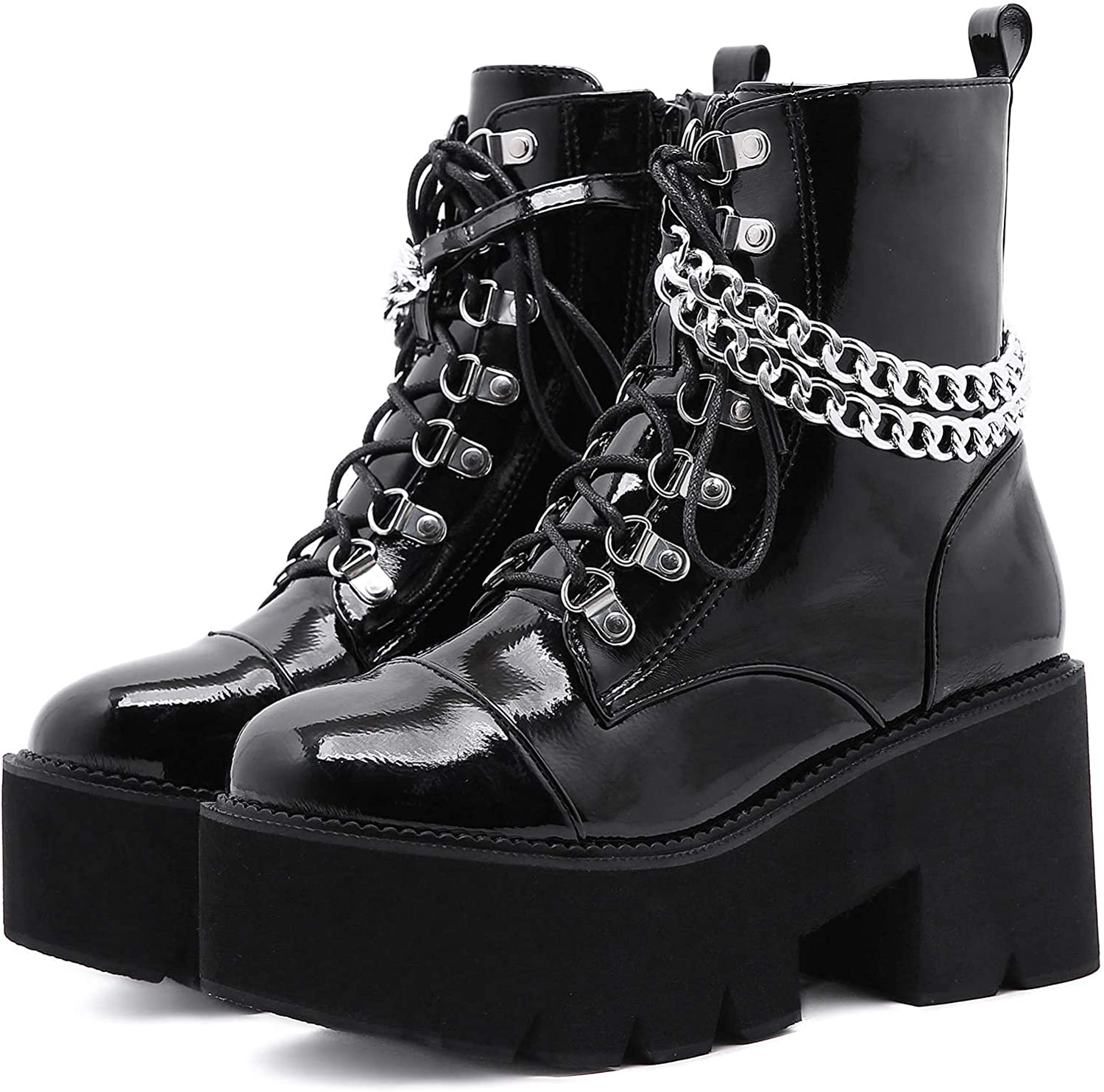 Amazon.com: YIYA Women's Studded Combat Boots Black Chunky Heel Platform Gothic Shoes Sexy Chain Zipper Motorcycle Booties for Women: Shoes
