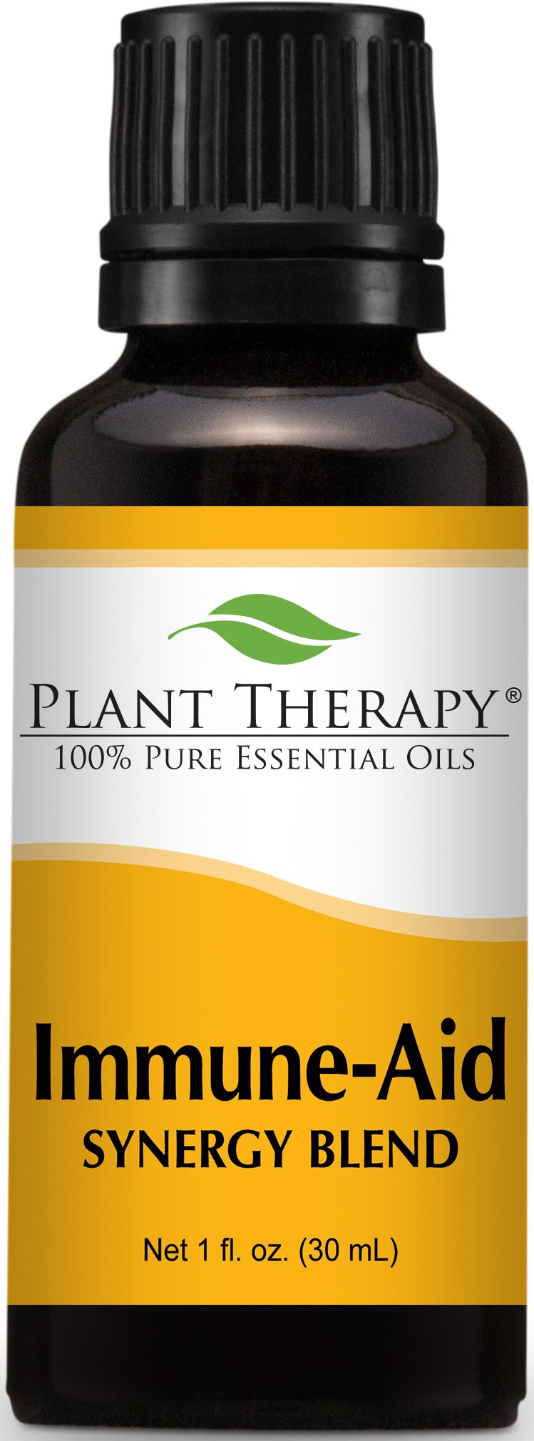 Plant Therapy Immune-Aid Synergy Essential Oil Blend. 100% Pure, Undiluted, Therapeutic Grade. Blend of: Frankincense, Tea Tree, Rosemary, Lemon, Eucalyptus and Orange. 30 ml (1 oz).