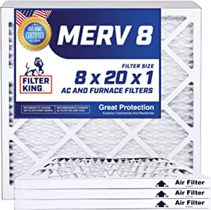 Filter King 8x20x1 Air Filters | 4 Pack | MERV 8 HVAC Pleated AC Furnace Filters