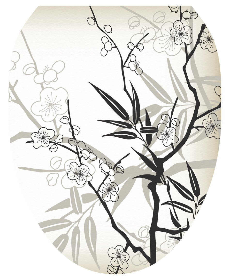 Toilet Tattoos, Toilet Seat Cover Decal, Cherry Blossoms, Size Elongated
