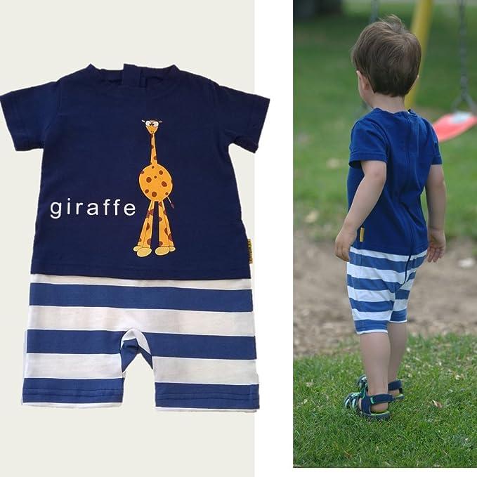 823a528da458 Amazon.com  Strip Free One-Piece Giraffe Romper with a Back Zipper in Blue White   Clothing
