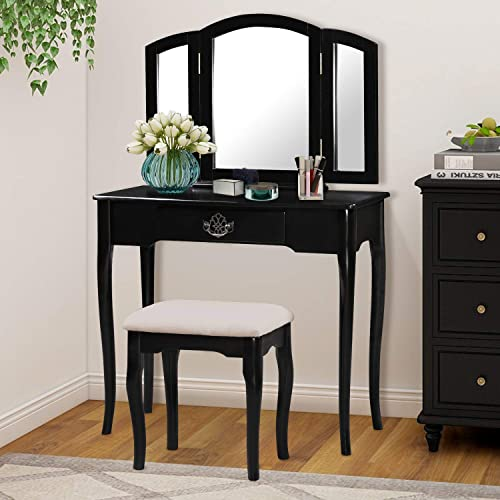 Harper Bright Designs Vanity Table Set with Mirror and Cushioned Stool Makeup Vanity with Bench Dressing Table with Drawer Black