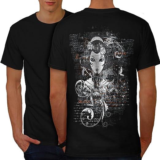d362ead1b0c33 wellcoda Gothic Asian Lady Mens T-Shirt, Girl Design Print on The Back Black