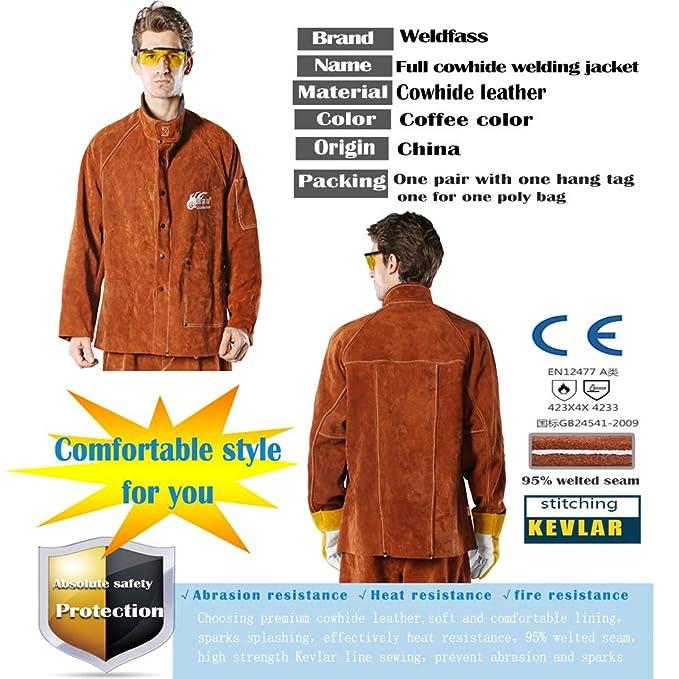 edef1fd8a0507 WELDFASS, Cowhide Leather Heat Resistant Welding Jacket, Work ...