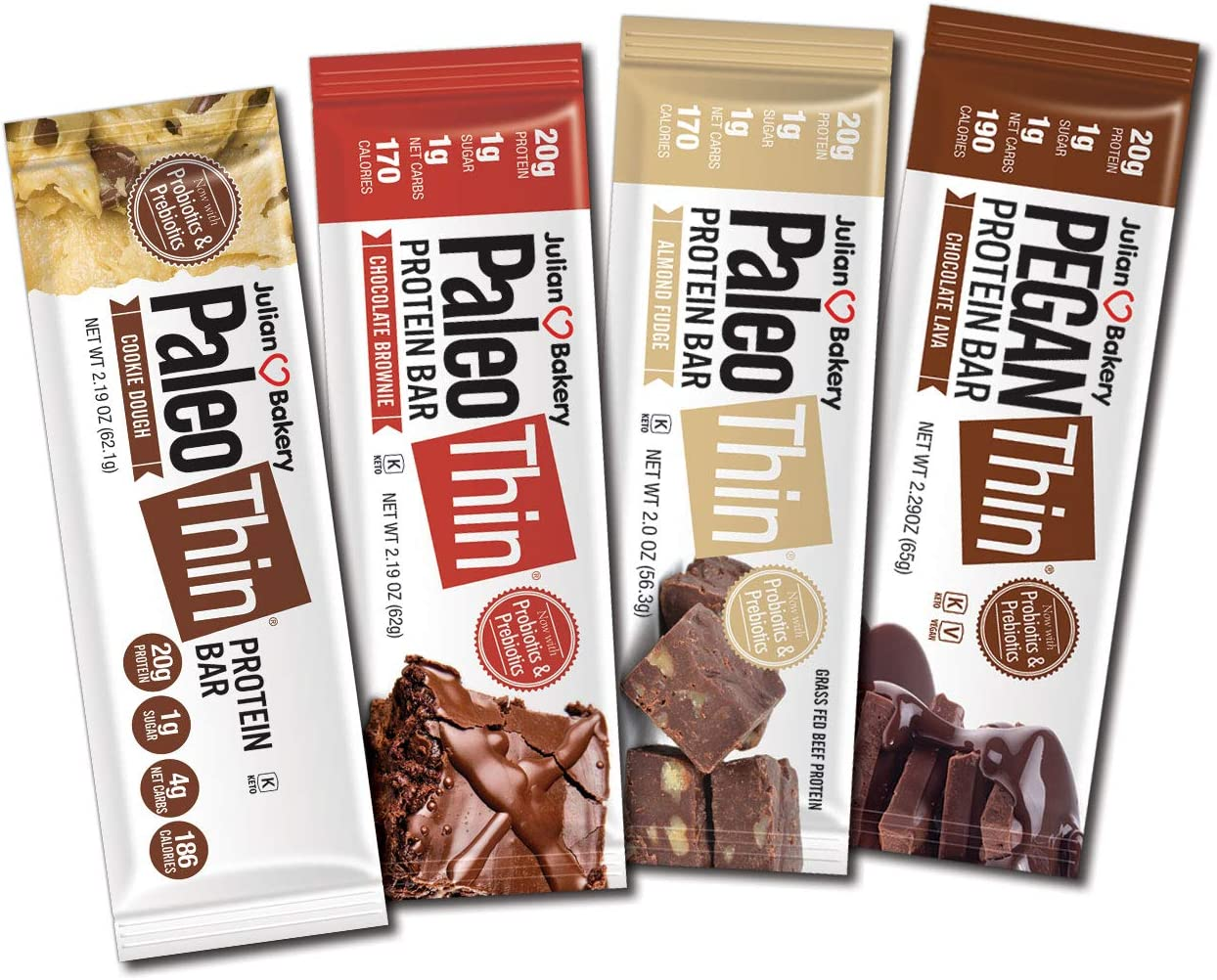 Julian Bakery Paleo Thin Protein Bar | Chocolate Lovers Variety | 20g Protein | 4 Flavors | Dairy-Free : Soy-Free : Gluten-Free | 12 Bars