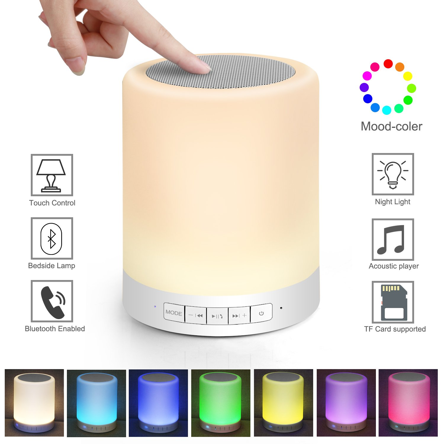 Kimfoxes Dimmable Touch Lamp Bluetooth Speaker Outdoor Portable Multicolor Night Light Music Player