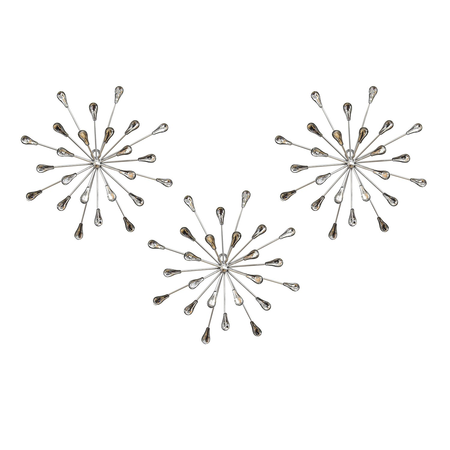 Stratton Home Decor S02380 Acrylic Burst Wall Decor, Set of 3, 10.00 W x 1.50 D x 30.00 H, Multi