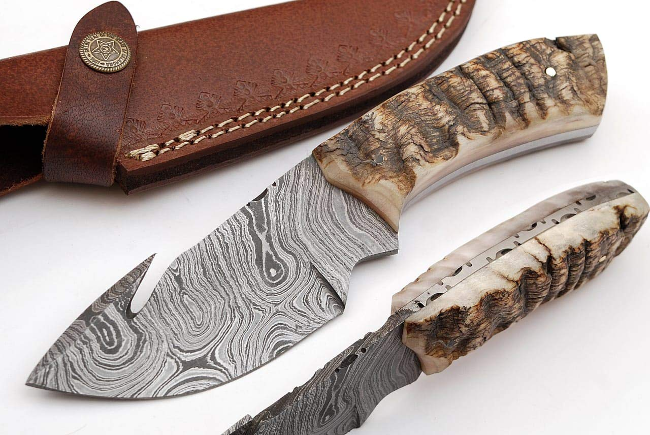 SharpWorld Beautiful Damascus Gut Hook Knife Made of Remarkable Damascus Steel Ram Handle w Brown Leather Sheath TJ111